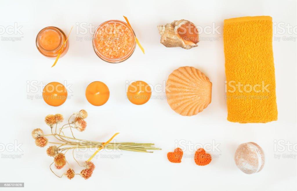 Spa attributes yellow orange sets royalty-free stock photo