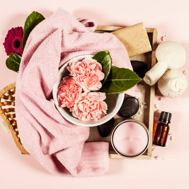 spa background. flat lay - spa belgium stock photos and pictures