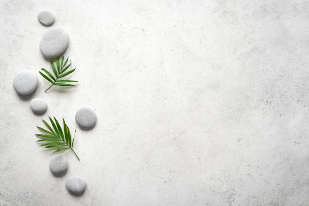 Spa Background Spa concept on white stone background, palm leaves and zen like grey stones, top view, copy space. spa stock pictures, royalty-free photos & images