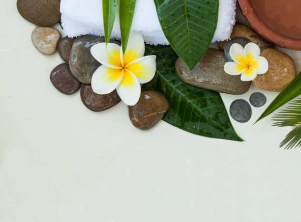 spa-hintergrund mit grünen blättern, weißen blüten und dunklen steinen auf weißem hintergrund - steingut geschirr stock-fotos und bilder