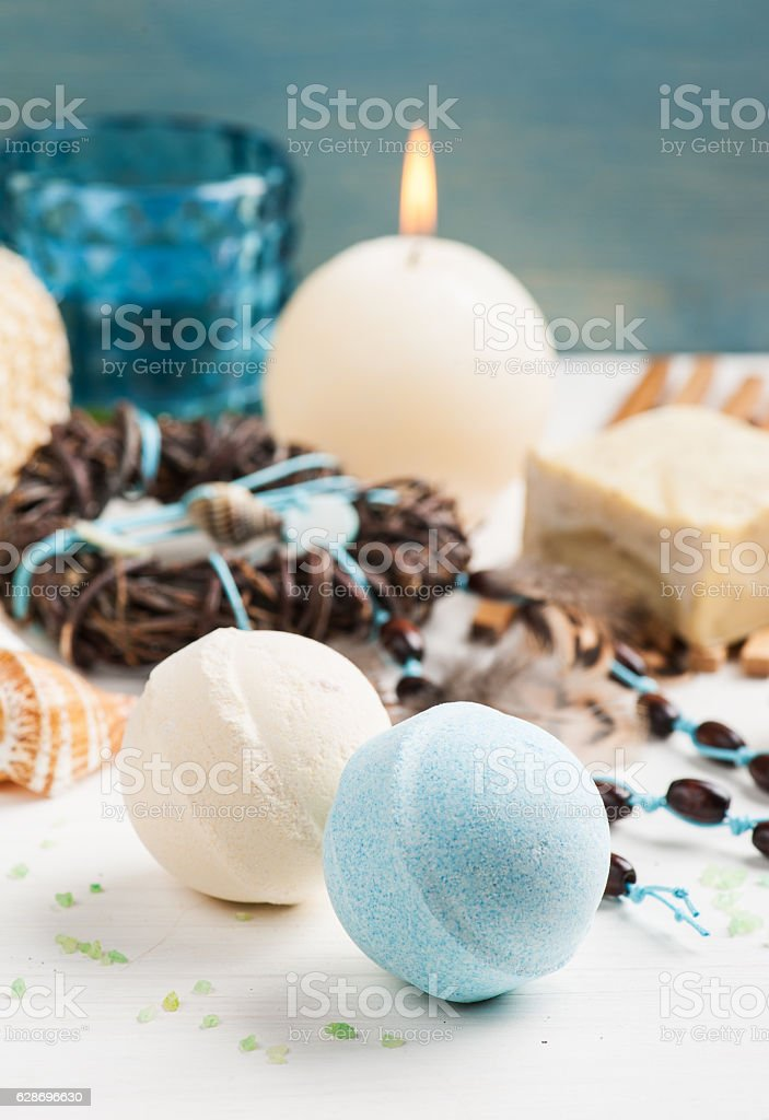 Spa background with organic soap, bath bombs, salt stock photo