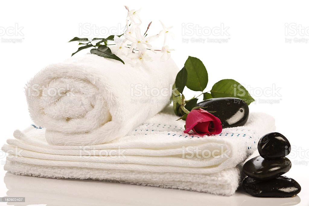 Spa background with rose jasmin and towels. royalty-free stock photo