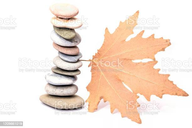 Photo of Spa balance Stones with Maple Leaf isolated on white