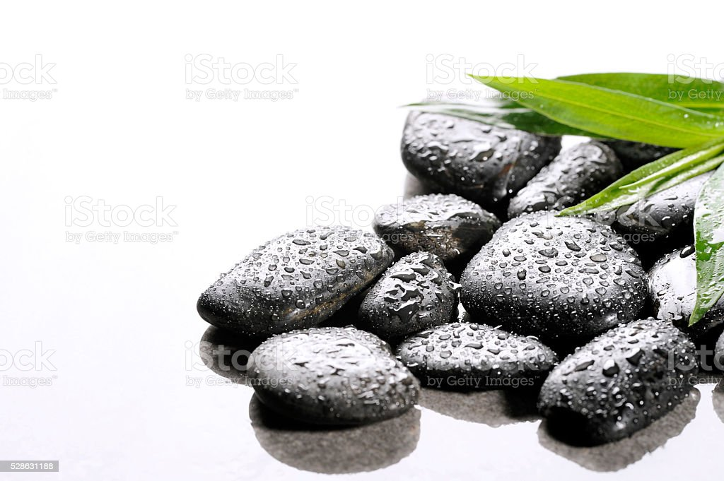 spa basalt stones and green leaves with water drops stock photo