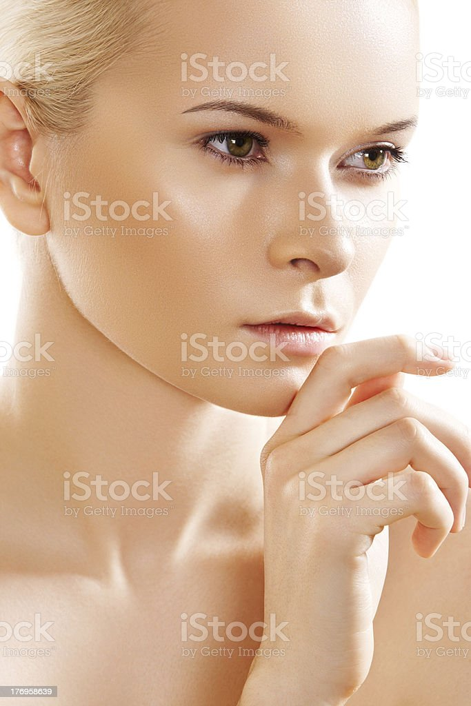 Spa beauty. Beautiful model with natural fresh make-up stock photo