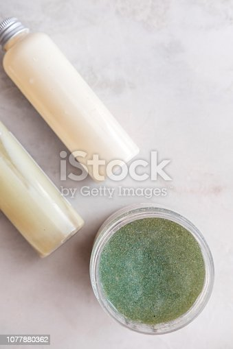 824824368 istock photo Spa beauty cosmetics on white marble 1077880362