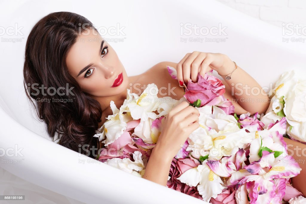 Spa Beauty Model Girl Taking Flower Bath Spa And Skin Care Concept ...