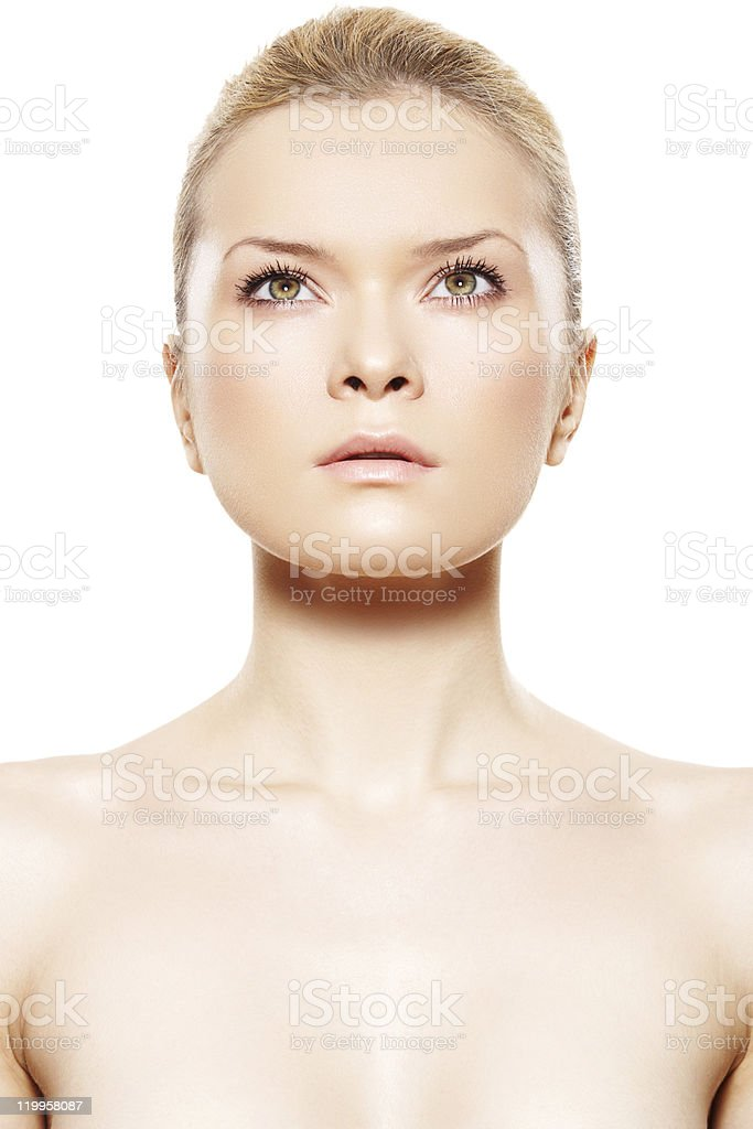 Spa beauty portrait of young woman model with perfect skin stock photo