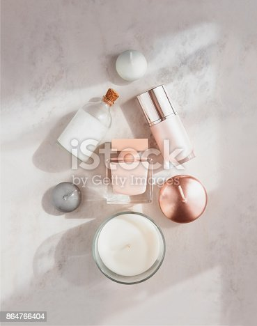 istock Spa beauty products flatlay in for of X-mas tree 864766404