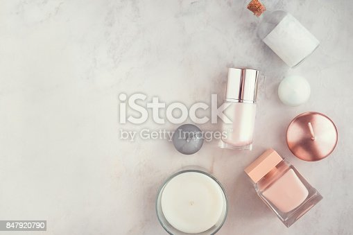 824824368 istock photo Spa beauty products on white marble table flatlay 847920790