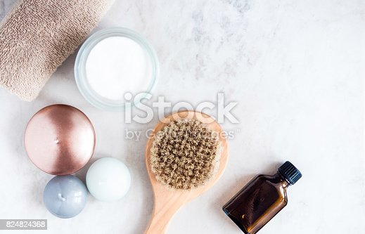 824824368 istock photo Spa beauty products on white marble table from above. Beauty blogger concept. Copyspace 824824368