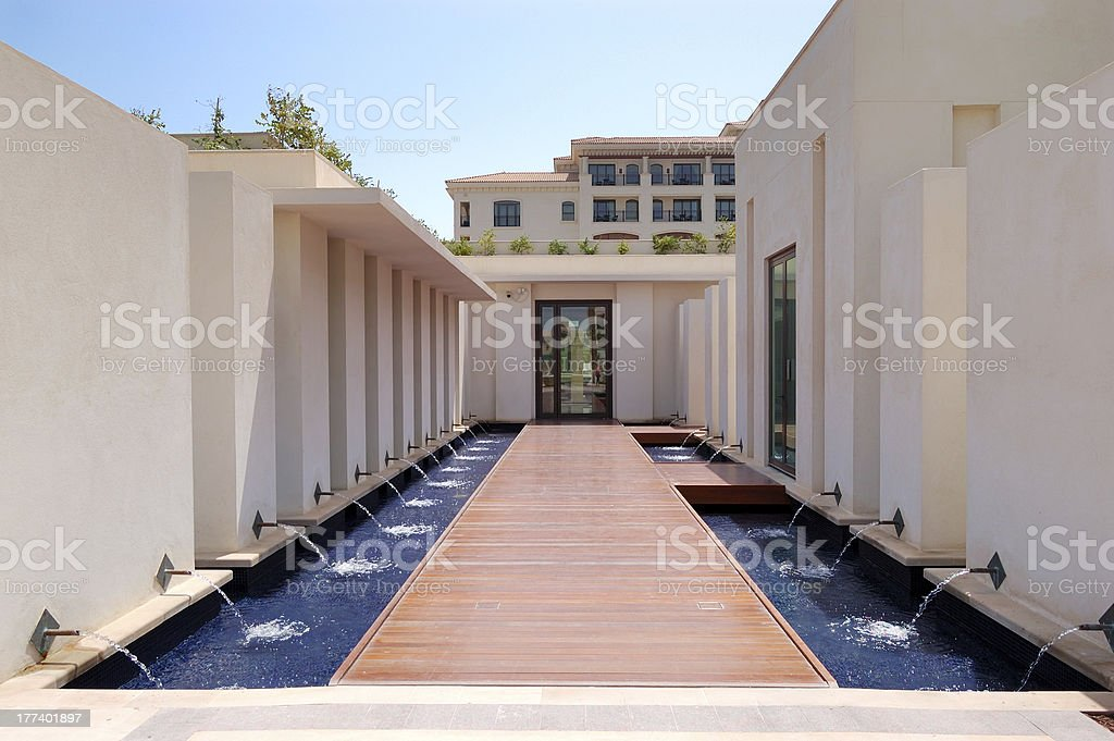 Spa building exterior at the luxury hotel stock photo