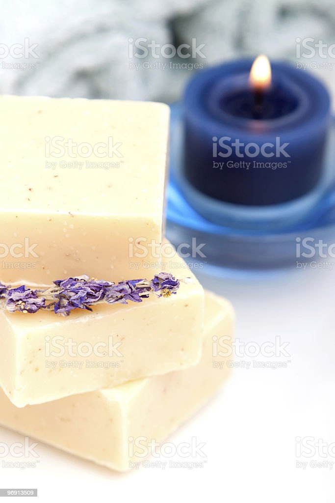 Spa candle and bath soap royalty-free stock photo