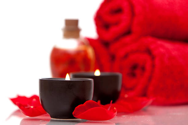Spa candles and towels stock photo
