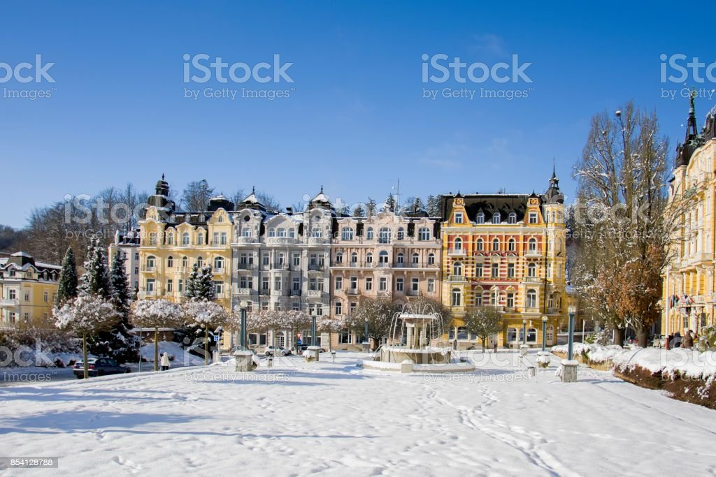 Spa center of spa resort Marianske Lazne (Marienbad) stock photo