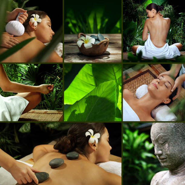 spa collage - thai massage stock photos and pictures