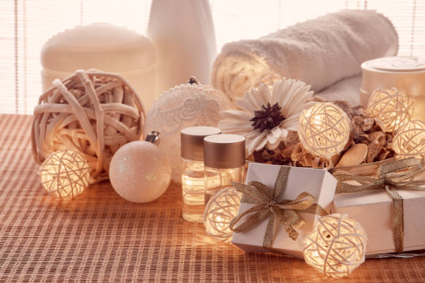 Spa composition and Christmas decorations stock photo