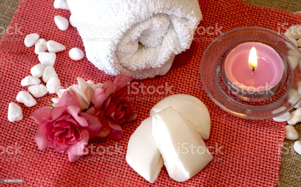Spa composition on pink background stock photo