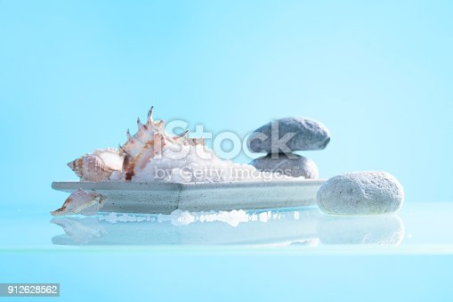 istock Spa composition with shells and  sea salt . 912628562