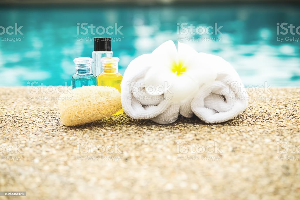 Spa concept background, spa set with space on swimming pool