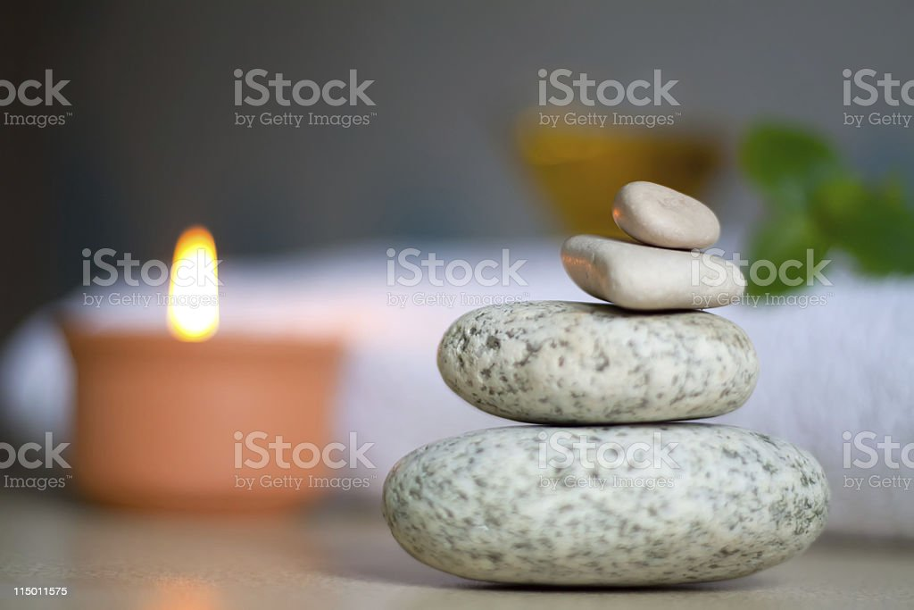 Spa concept green leaves, candle royalty-free stock photo