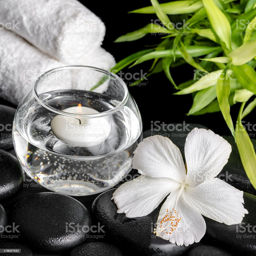 Spa Concept Of White Hibiscus Flower Bamboo Round Vase Stock Photo