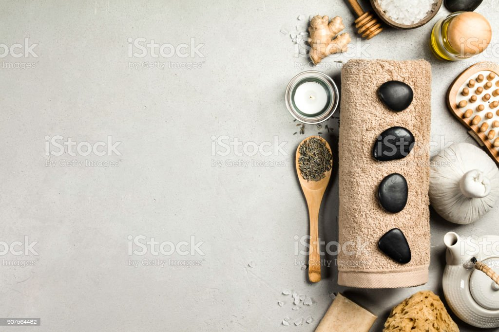 Spa Concept. Top view of beautiful Spa Products. stock photo