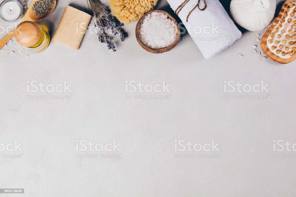 Spa Concept. Top view of beautiful Spa Products. royalty-free stock photo