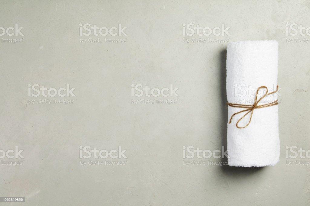 Spa Concept. Top view of white towel zbiór zdjęć royalty-free