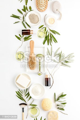 istock Spa concept with olive oil natural cosmetic ingredients 1184010539