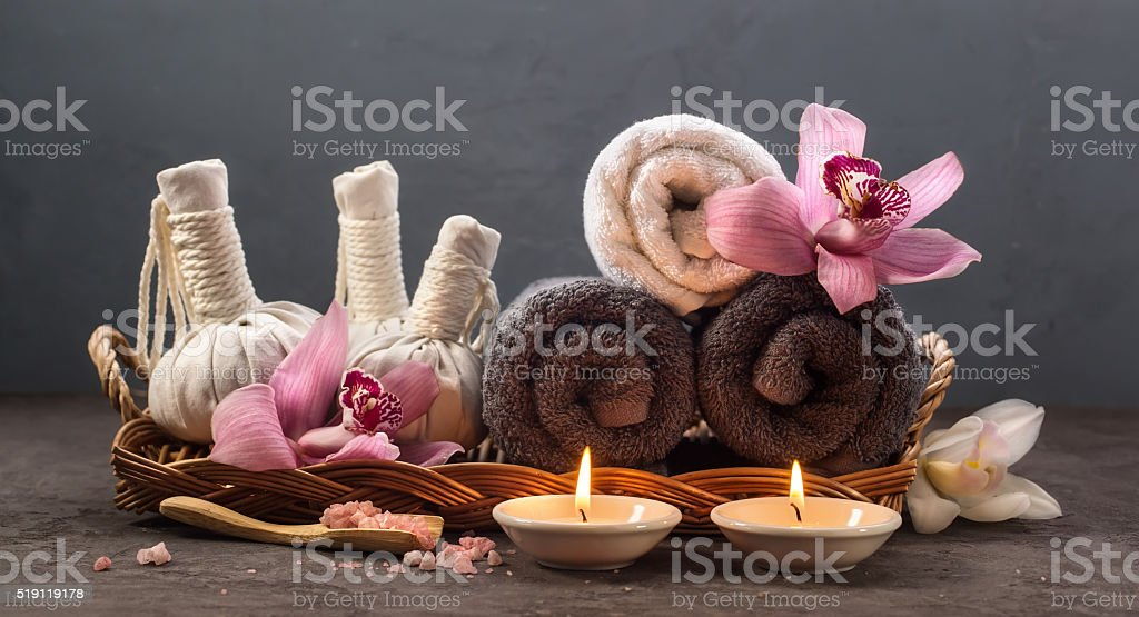 Spa concept with Thai herbal ball stock photo