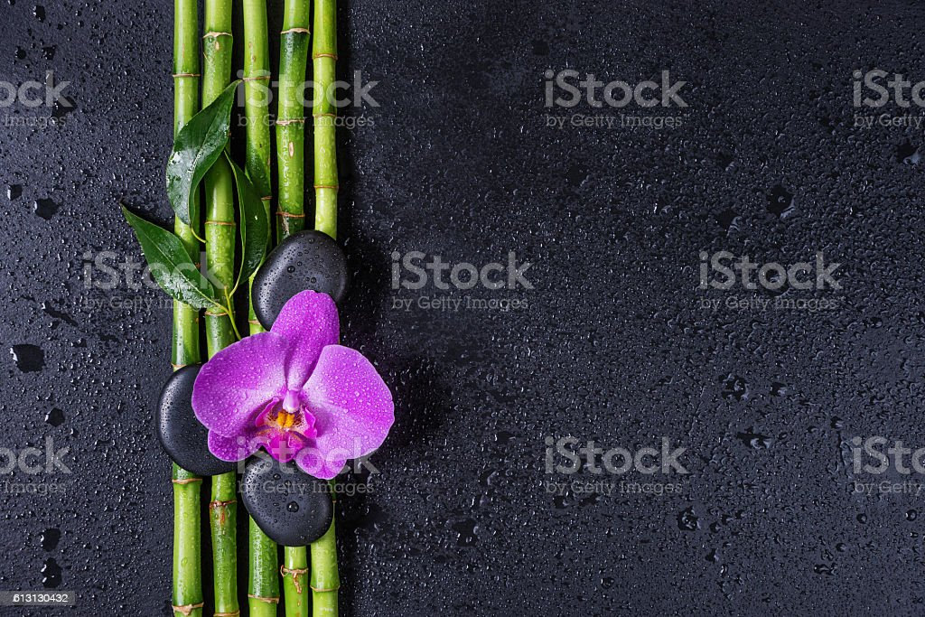Spa concept with zen stones, orchid flower and bamboo foto