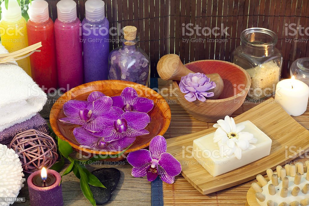 Spa cosmetic still life with peeling bottle royalty-free stock photo