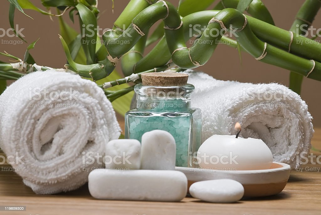 Spa decorated with bamboo. stock photo