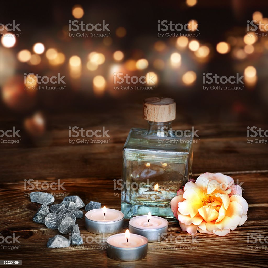 Spa decoration on a wooden table stock photo