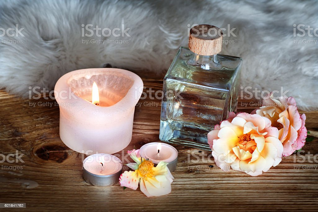 Spa decoration with aromatic oil stock photo