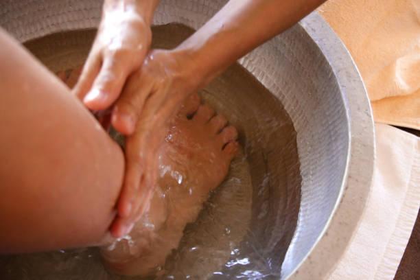 spa foot bath stock photo