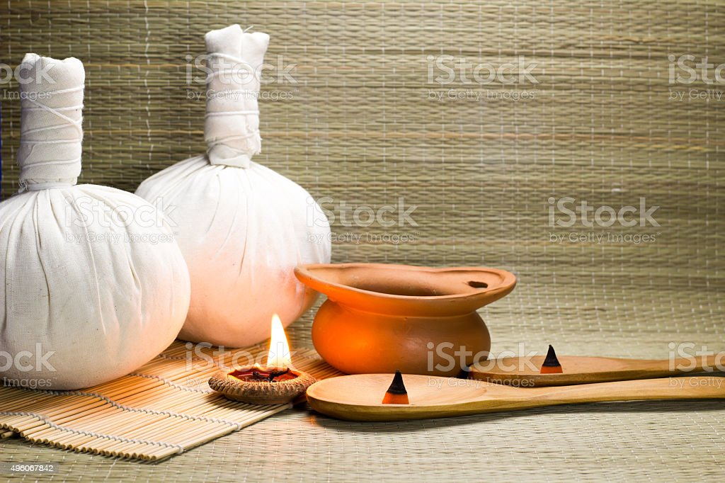 Spa herbal compressing ball stock photo