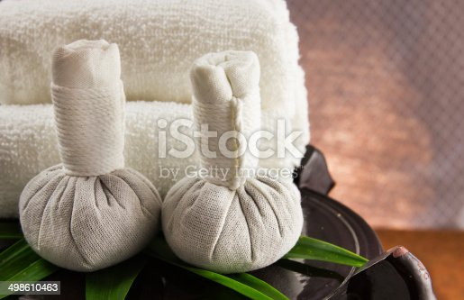 istock Spa herbal compressing ball with towels. 498610463