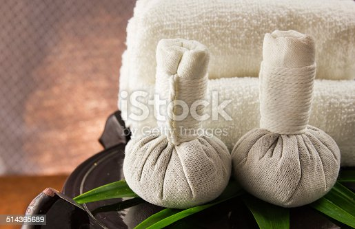 istock Spa herbal compressing ball with towels. 514365689