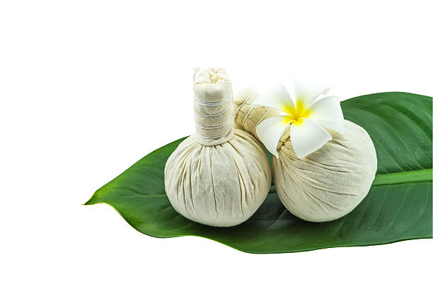spa herbal concept on white background. - thai massage stock photos and pictures