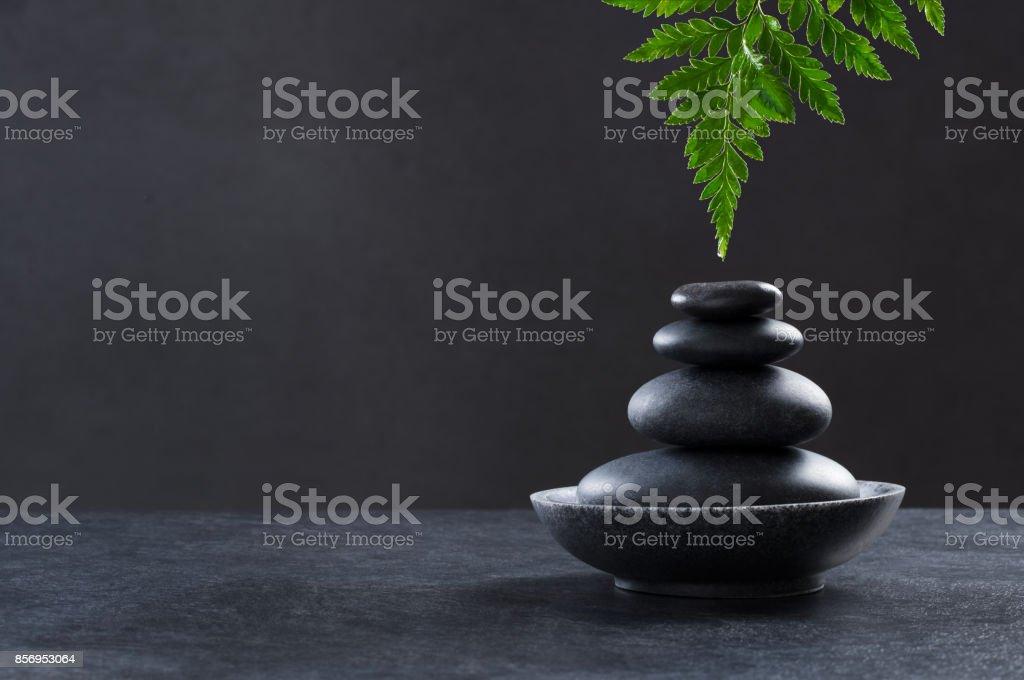 Spa hot stone massage set stock photo