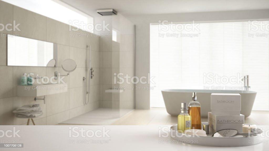 Spa Hotel Bathroom Concept White Table Top Or Shelf With ... on white spa bathroom, asia spa bathroom, mountain spa bathroom, teak spa bathroom, brown spa bathroom,