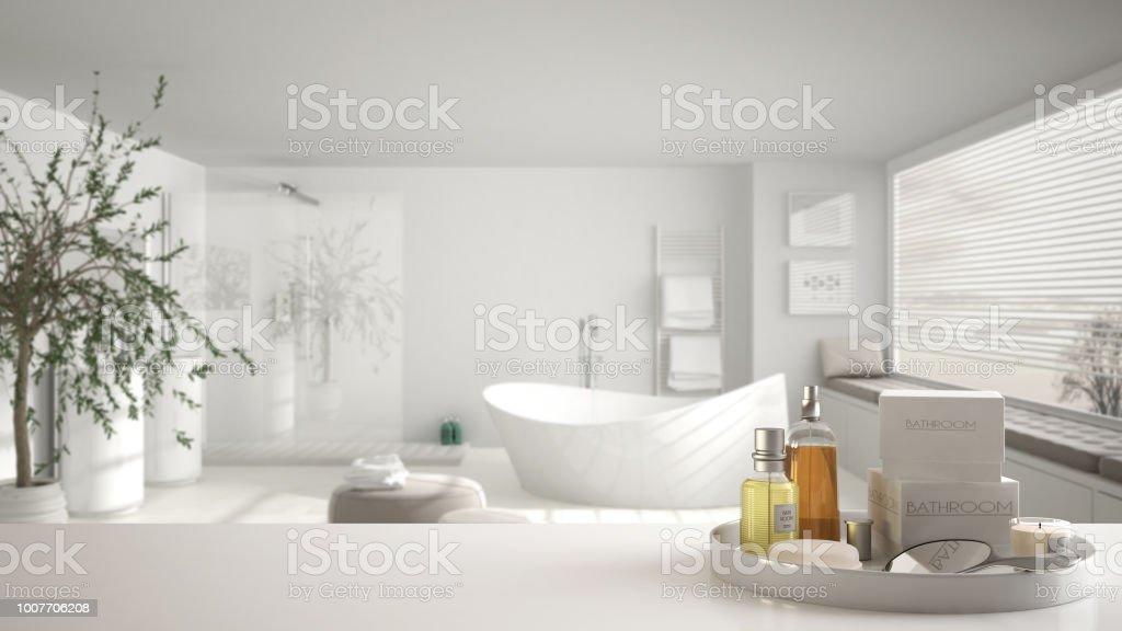 Spa Concepto De Cuarto De Baño Del Hotel Blanco Mesa O ...