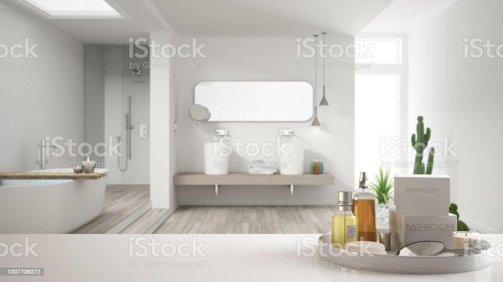 Spa Hotel Badkonzept Weiße Tischplatte Oder Regal ...