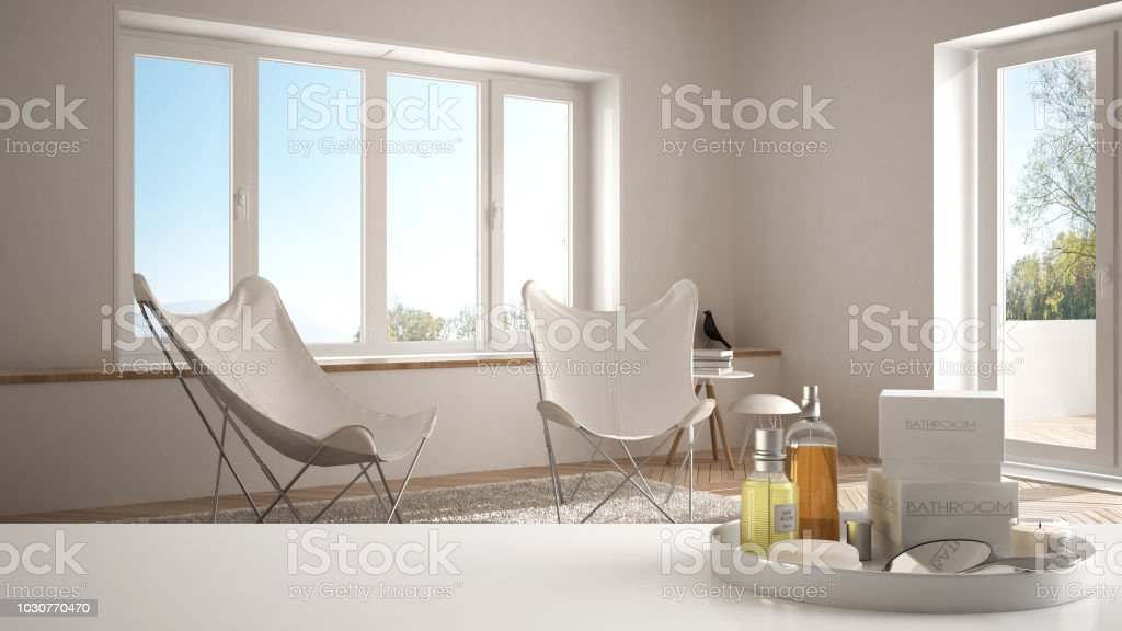 Spa, hotel concept. White table top or shelf with bathing...