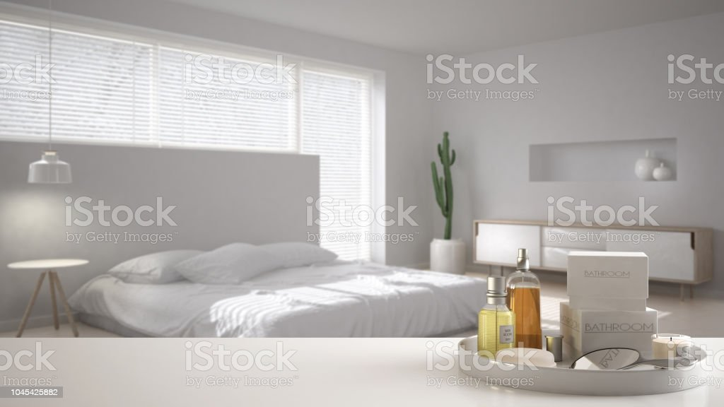 Spa Hotel Room Concept White Table Top Or Shelf With Bathing Accessories Toiletries Over Blurred Minimal Scandinavian Bedroom Modern Architecture Interior Design Stock Photo Download Image Now Istock
