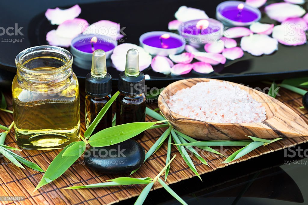 Spa ingredients (oil, scrub) stock photo