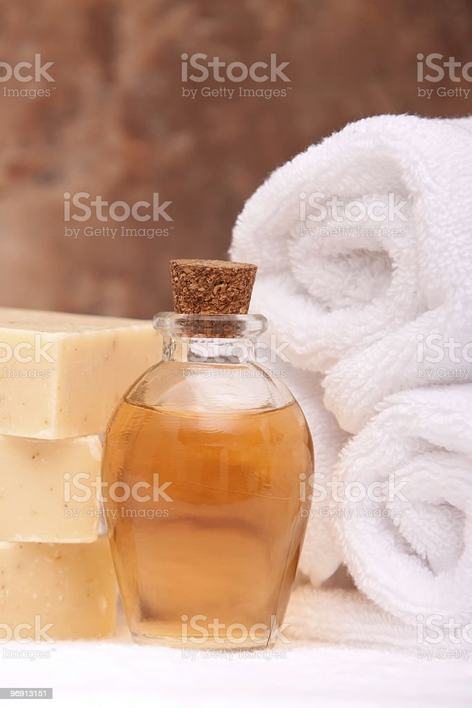 Spa items with essential oils royalty-free stock photo