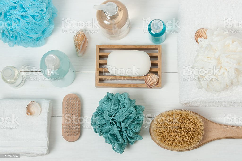 Spa Kit. Shampoo, Soap Bar And Liquid. Shower Gel. Aromatherapy stock photo